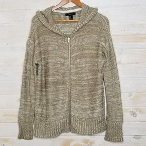Forever 21 Cardigan Zip Up Hooded Thick Knit